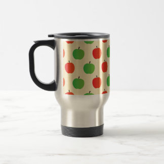 Red and Green Apple Pattern Travel Mug