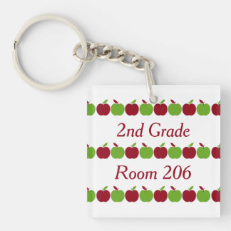 Red and Green Apple Rows Personalized Keychain