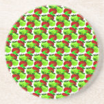 Red and Green apple swatch pattern Beverage Coasters