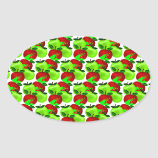 Red and Green apple swatch pattern Oval Sticker