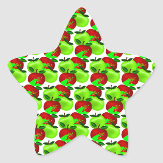 Red and Green apple swatch pattern Star Sticker