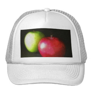 Red and Green Apples 2 Painterly Mesh Hat