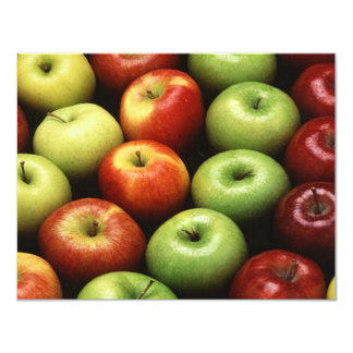 Red and Green Apples 4.25x5.5 Paper Invitation Card