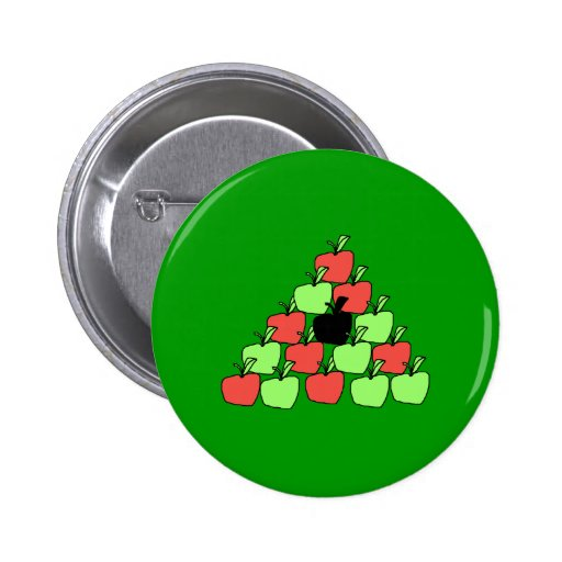 Red and Green Apples. Pool Balls, Triangle. 2 Inch Round Button