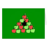 Red and Green Apples. Pool Balls, Triangle. Greeting Card