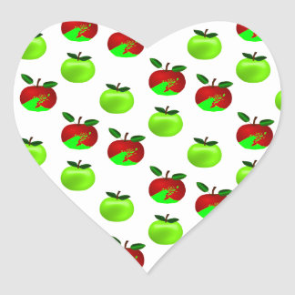 Red and Green apples swatch pattern Heart Sticker
