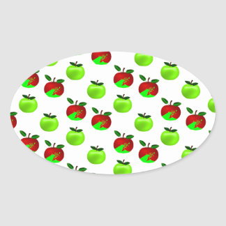 Red and Green apples swatch pattern Oval Sticker