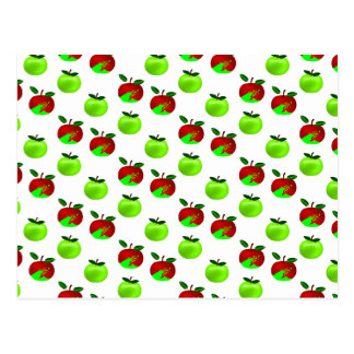 Red and Green apples swatch pattern Postcard
