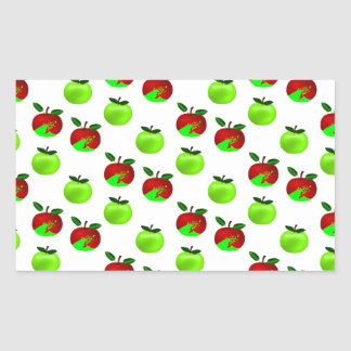 Red and Green apples swatch pattern Rectangular Sticker