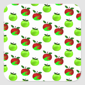 Red and Green apples swatch pattern Square Sticker