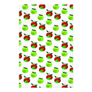 Red and Green apples swatch pattern Custom Stationery