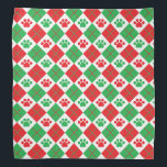 """Red and Green Argyle Paw Print Bandana<br><div class=""""desc"""">Show off your love of animals with this cute paw print themed bandana. This item displays a red and green argyle paw print pattern. Maybe you&#39;re searching for a special gift for an animal lover in your life? This product is a great gift for cat owners, dog owners, veterinarians, vet...</div>"""