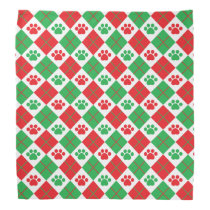Red and Green Argyle Paw Print Bandana