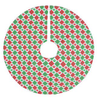 Red and Green Argyle Paw Print Brushed Polyester Tree Skirt