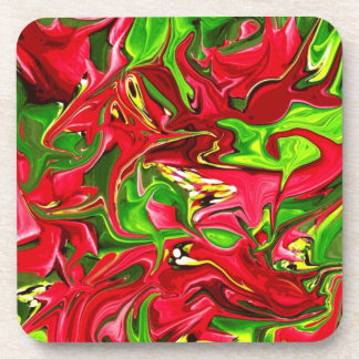 red and green art drink coaster
