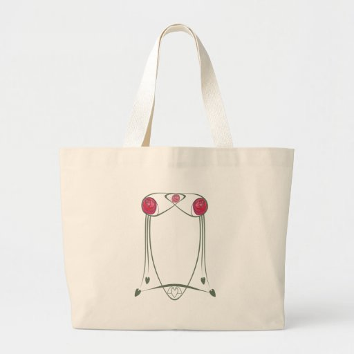 Red and Green Art Nouveau Roses Design Jumbo Tote Bag