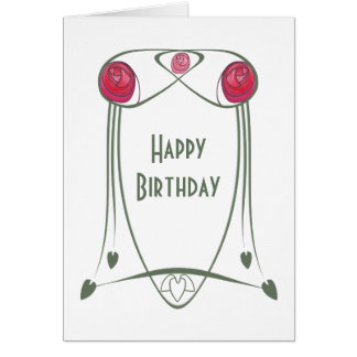 Red and Green Art Nouveau Roses Design Card