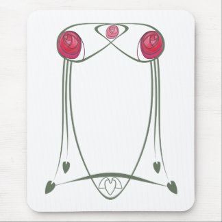 Red and Green Art Nouveau Roses Design Mouse Pad