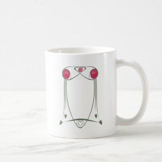 Red and Green Art Nouveau Roses Design Classic White Coffee Mug
