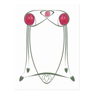Red and Green Art Nouveau Roses Design Postcard