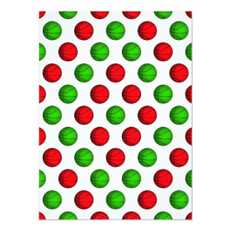 "Red and Green Basketball Pattern 5.5"" X 7.5"" Invitation Card"