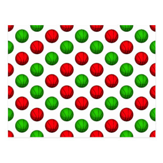 Red and Green Basketball Pattern Post Cards