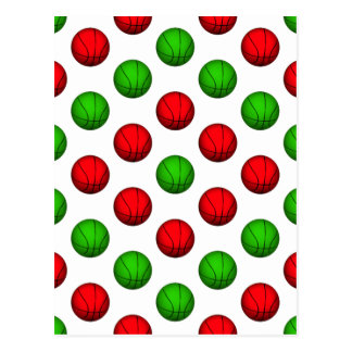 Red and Green Basketball Pattern Postcard