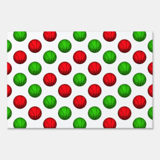 Red and Green Basketball Pattern Sign