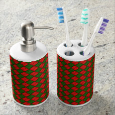 Red And Green Basketweave Xmas Pattern Soap Dispenser And Toothbrush Holder