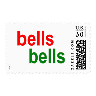 Red and Green Bells Bells Christmas Word Phrase Postage