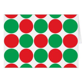 Red and Green Big Bold Polka Dots Circles Pattern Stationery Note Card