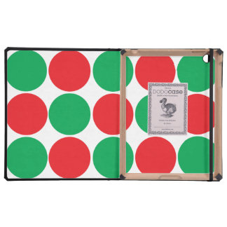 Red and Green Big Bold Polka Dots Circles Pattern Case For iPad