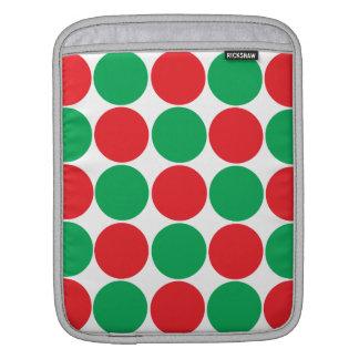Red and Green Big Bold Polka Dots Circles Pattern iPad Sleeves