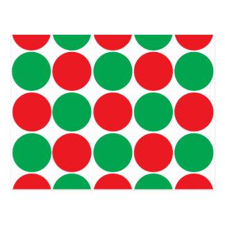 Red and Green Big Bold Polka Dots Circles Pattern Postcard