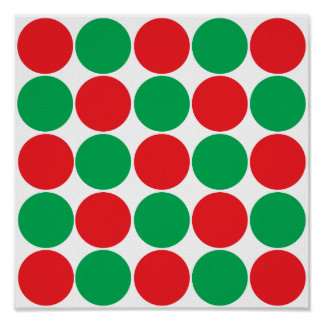 Red and Green Big Bold Polka Dots Circles Pattern Poster