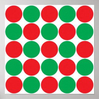 Red and Green Big Bold Polka Dots Circles Pattern Poster