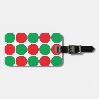 Red and Green Big Bold Polka Dots Circles Pattern Tag For Luggage