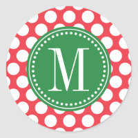 Red and Green | Big Polka Dots Monogrammed Classic Round Sticker