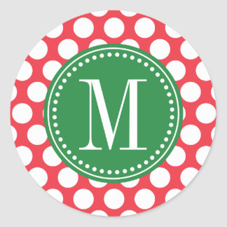 Red and Green   Big Polka Dots Monogrammed Stickers