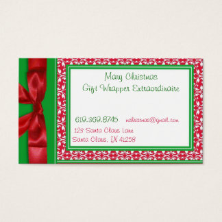 Red and Green Bow Business Cards