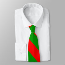 Red and Green Broad University Stripe Tie
