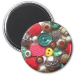 Red and Green Button Collage Refrigerator Magnets