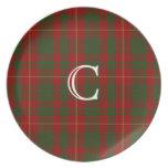 Red and Green Cameron Monogram Tartan Plaid Plate