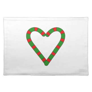 Red and Green Candy Cane Heart Holiday Placemats