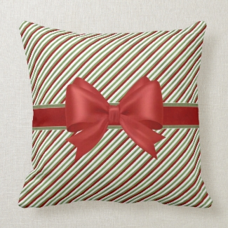 Red and Green Candy Cane Stripes with Bow