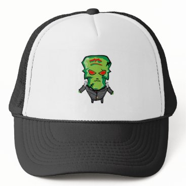 Halloween Themed Red and green cartoon Halloween Frankenstein Trucker Hat