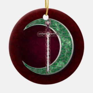 Red And Green Celtic Moon Double-Sided Ceramic Round Christmas Ornament