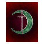 Red And Green Celtic Moon Poster