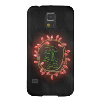 Red and Green Chalk Drawn Merry and Bright Holiday Case For Galaxy S5
