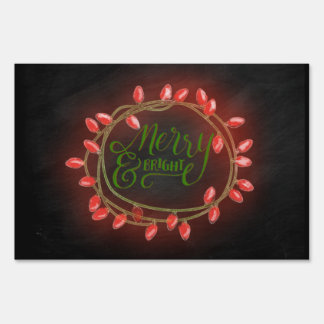 Red and Green Chalk Drawn Merry and Bright Holiday Lawn Sign